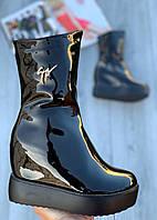 Ботинки женские лаковые Евро-Мех 6 пар в ящике черного цвета 35-40, фото 1