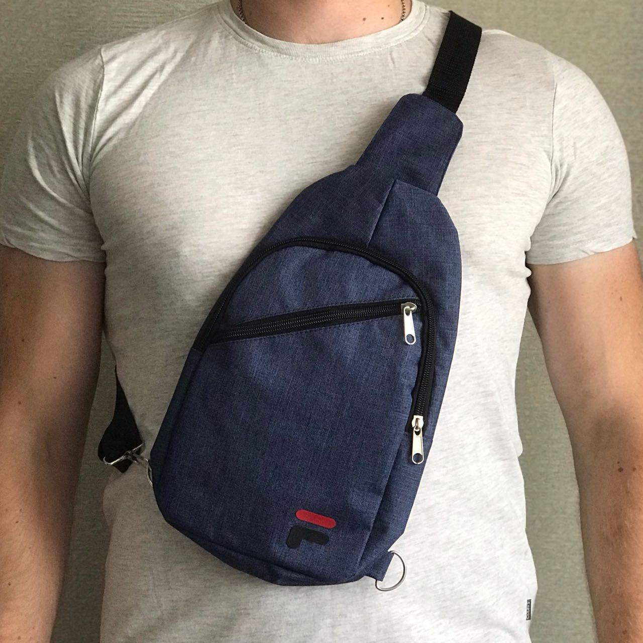 Мужская сумка бананка на грудь FILA