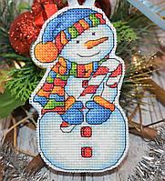 """Набор для вышивки ёлочной игрушки """"Снеговик с леденцом"""""""