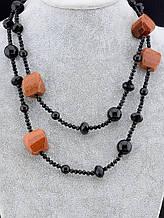 053112 Бусы Золотой Песок, Агат, Чешский хрусталь 160 см.
