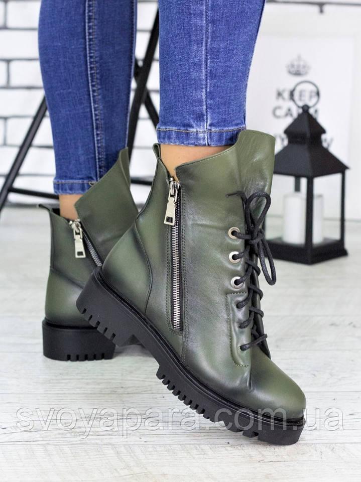 Ботинки  Angelina оливка кожа 6720-28