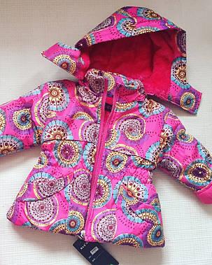 Детский комплект деми  комбинезон+ куртка на девочку розовый утепленный 4,5 лет, фото 2