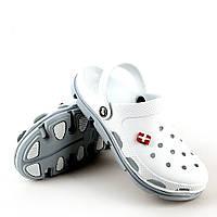 Кроксы Jose Amorales женские белый/серый. Рабочая медицинская и поварская обувь, клоги, сабо.