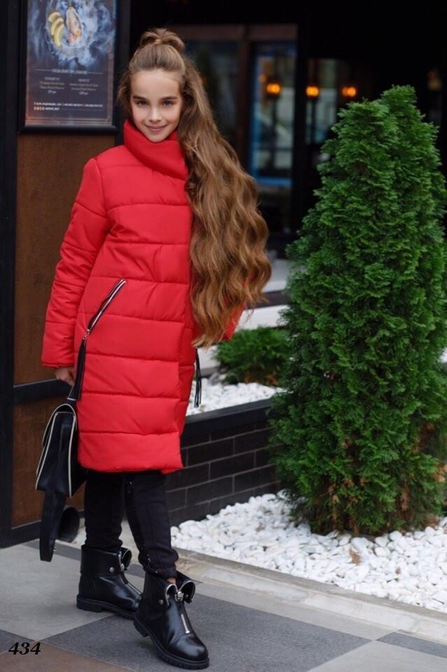 Тепле пальто для дівчинки на силіконі 134,140,146,152