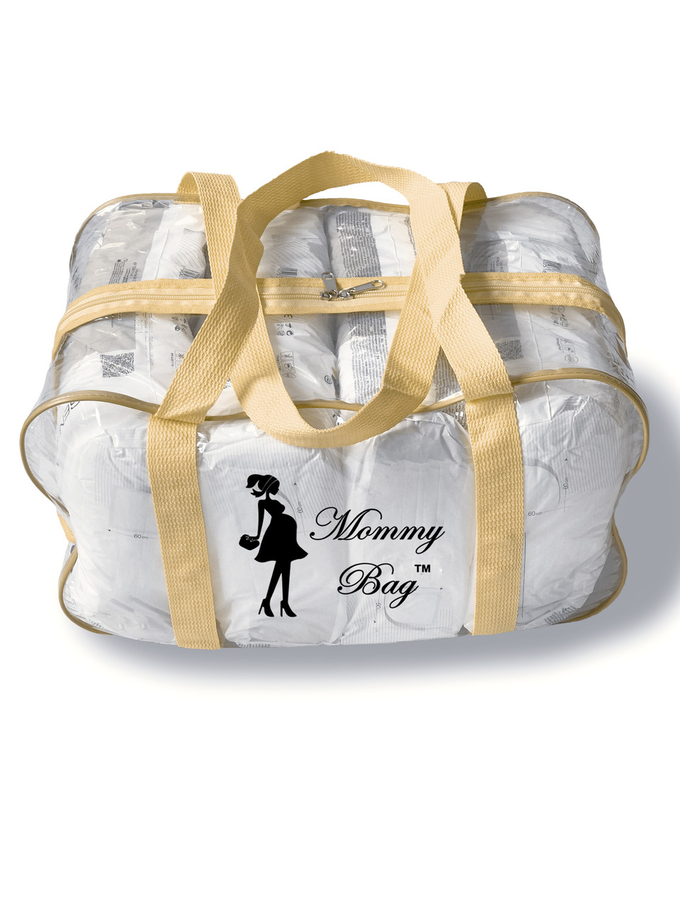 Сумка прозрачная в роддом Mommy Bag - M - 40*25*20 см Бежевая