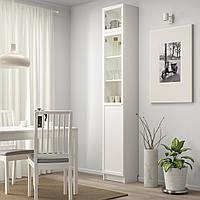 IKEA BILLY/OXBERG Книжный шкаф с дверями, белый, стекло (892.874.33)