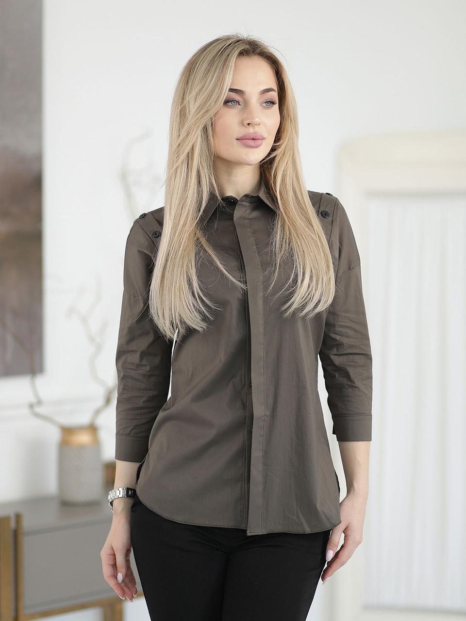 Рубашка цвета хаки со спущенным плечом
