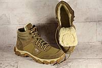 Тактические ботинки из натуральной кожи и меха - бежевый ботинок ev зима