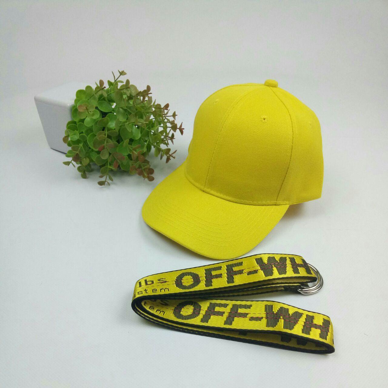 Комплект Кепка бейсболка Style (желтая) + ремень пояс Off-White