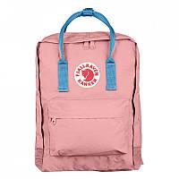 Городской Рюкзак Fjallraven Kanken 16л Classic Розовый с голубыми ручками, фото 1
