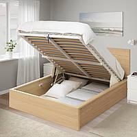 IKEA MALM Кровать с ящиком, беленый дубовый шпон (704.126.82)