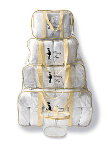 Набор из 4+1 прозрачных сумок в роддом Mommy Bag сумка - S,M,L,XL - Бежевый