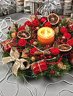 Рождественский венок с гирляндой от батареек  «Праздничный», фото 1