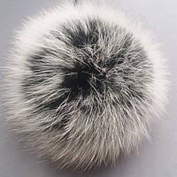 Меховой бубон (помпон) из натурального меха песца размер 11-14 см цвет черный с серыми кончиками (под чбк)