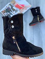 Ботинки женские зимние (НАТУРАЛЬНЫЙ МЕХ) 6 пар в ящике черного цвета 36-41, фото 1