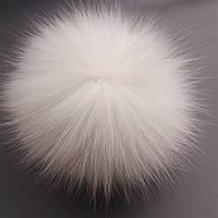 Меховой бубон (помпон) из натурального меха песца цельной шкуры.Цвет белый.Размер 12-14 см