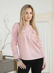 Рубашка цвета пудры с карманами