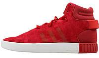 Мужские кроссовки  Adidas Tubular Invader Red Vintage White (адидас тубулар, красные)