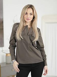 Рубашка цвета хаки с карманами
