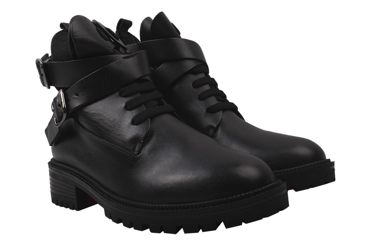 Ботинки женские на платформе из натуральной кожи на шнуровку, черные Aquamarin Турция