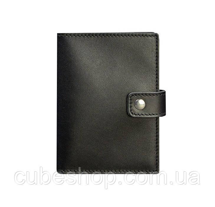 Обложка для паспорта из кожи с окошком 5.0 (черная)