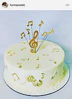 Набор топперов скрипичный ключ и ноты, золотые ноты на проволочке, топпер для музыканта