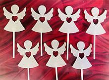 Топперы ангелы для кап-кейков 7шт, топперы на палочке, ангелочки в кекс, топперы в кексы