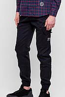 Черные коттоновые брюки карго с боковыми карманами