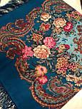 Бал маскарад 982-12, павлопосадский платок шерстяной с шелковой бахромой, фото 4