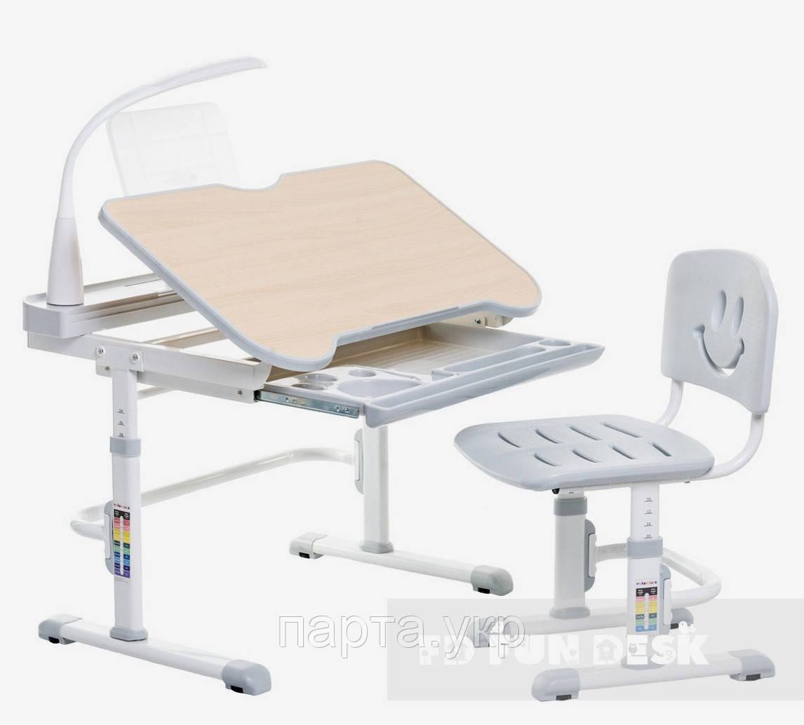 Парта трансформер увеличенная  и стул, 80 см Смайл Grey