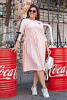 """Трикотажное платье свободного кроя """"SILAN"""" с четвертным рукавом (большие размеры)"""