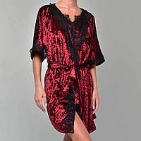 Халат женский мраморный велюр M-7010 бордо, фото 1