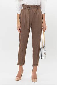 Женские брюки с высокой талией поясом коричневые