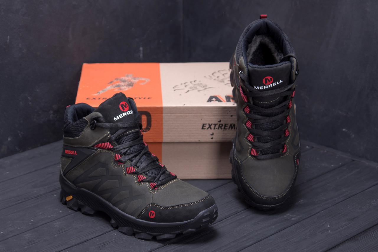 Мужские зимние кожаные ботинки Merrell Olive  (реплика) 7