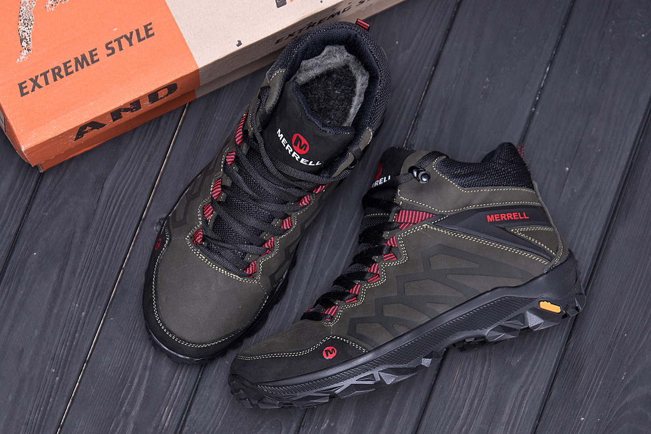 Мужские зимние кожаные ботинки Merrell Olive  (реплика) 10