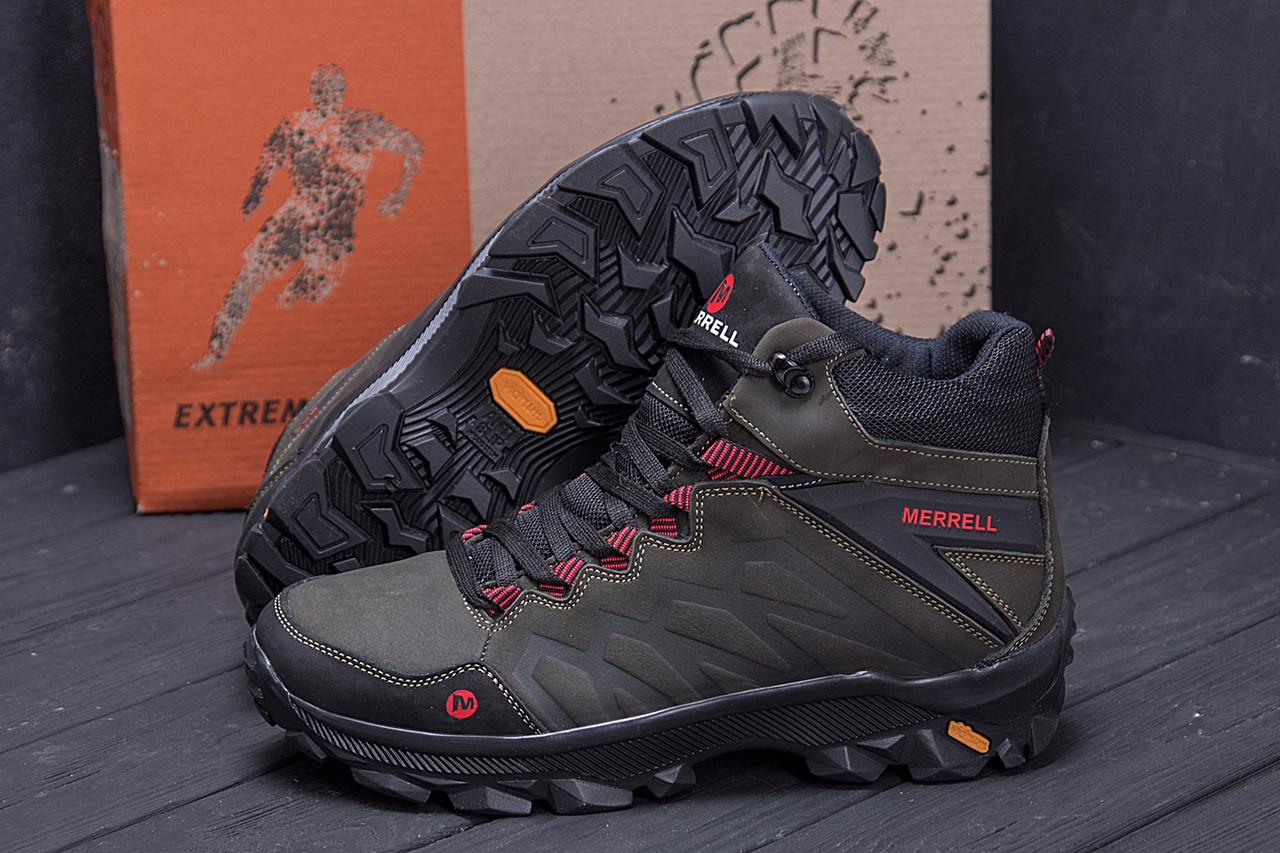 Мужские зимние кожаные ботинки Merrell Olive  (реплика) 9