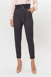 Женские брюки с высокой талией поясом темно-серые