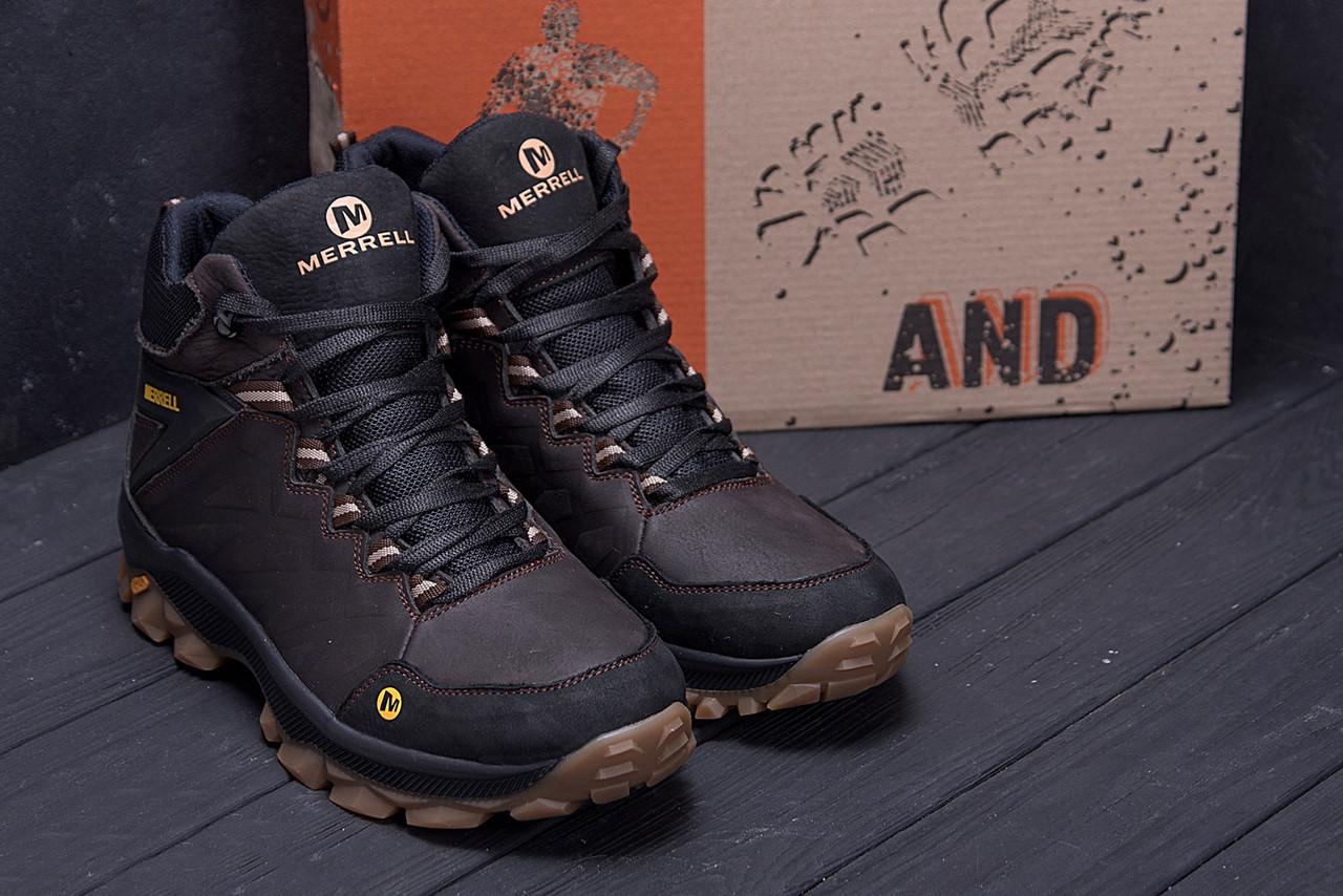 Мужские зимние кожаные ботинки Merrell Chocolate  (реплика) 7