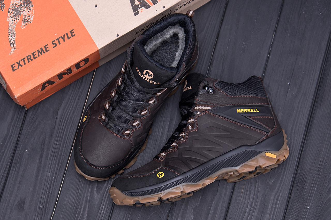 Мужские зимние кожаные ботинки Merrell Chocolate  (реплика) 10
