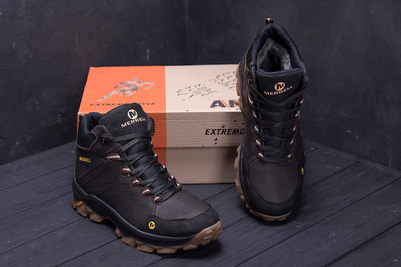 Мужские зимние кожаные ботинки Merrell Chocolate  (реплика) 9