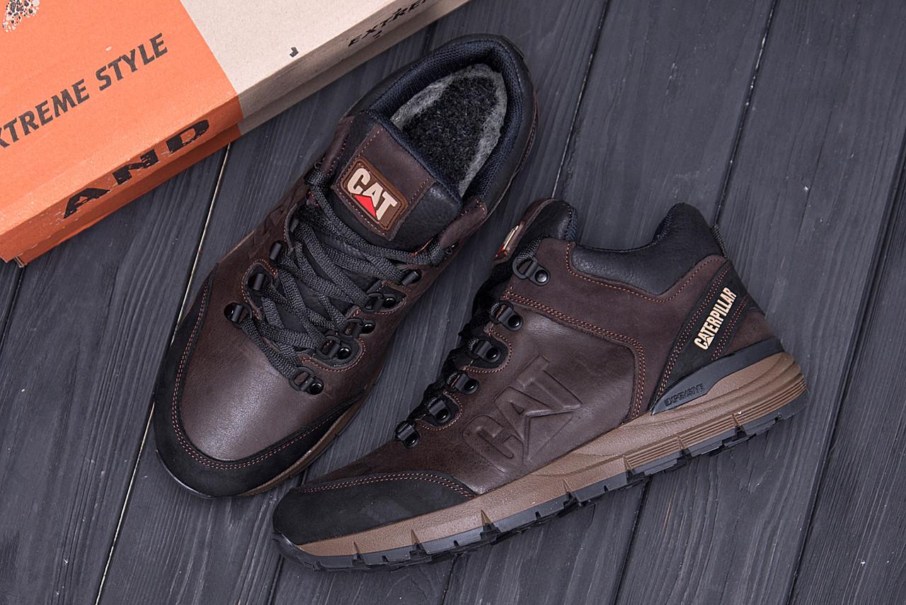 Мужские зимние кожаные ботинки CATERPILLAR Chocolate  (реплика) 10