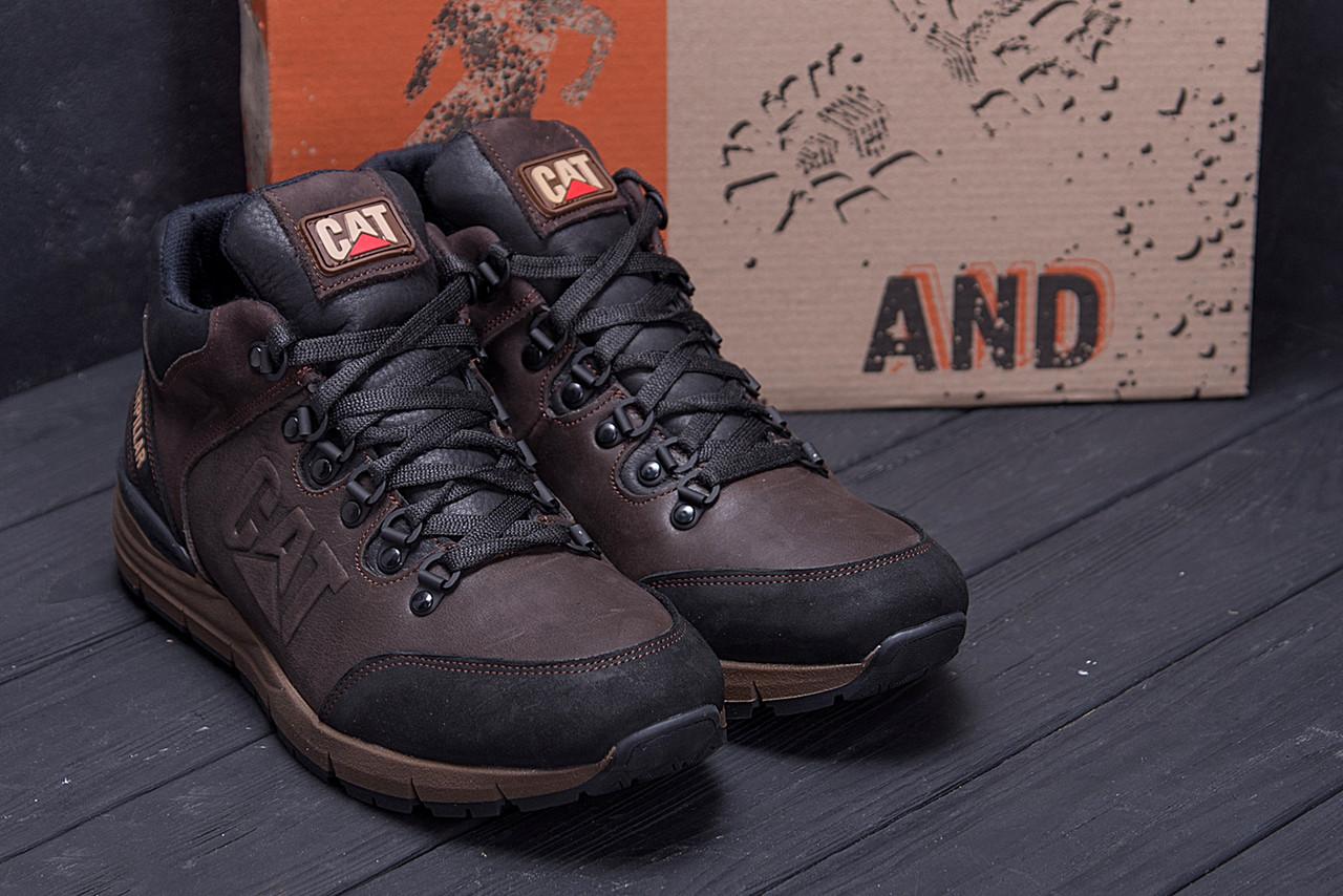 Мужские зимние кожаные ботинки CATERPILLAR Chocolate  (реплика) 8