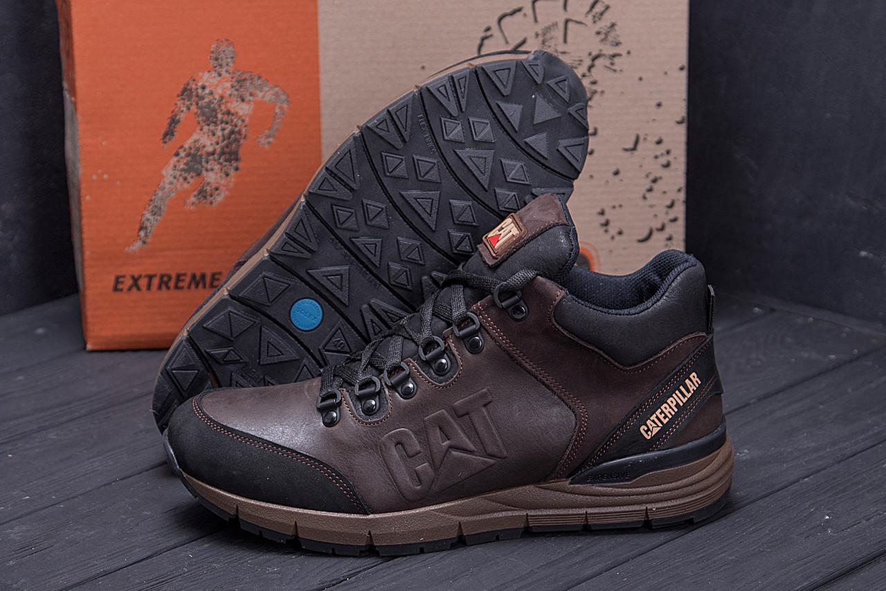Мужские зимние кожаные ботинки CATERPILLAR Chocolate  (реплика) 9
