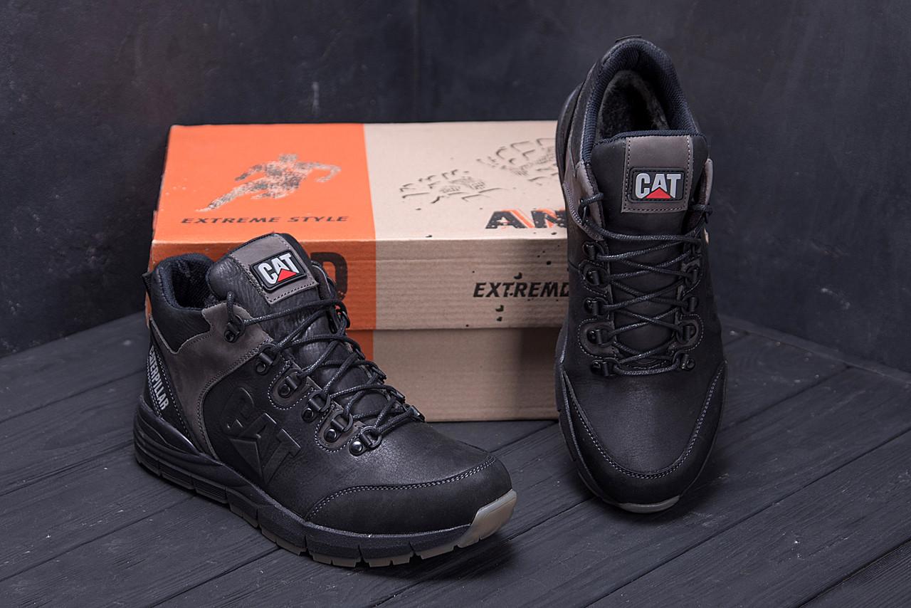 Мужские зимние кожаные ботинки CATERPILLAR Black  (реплика) 7