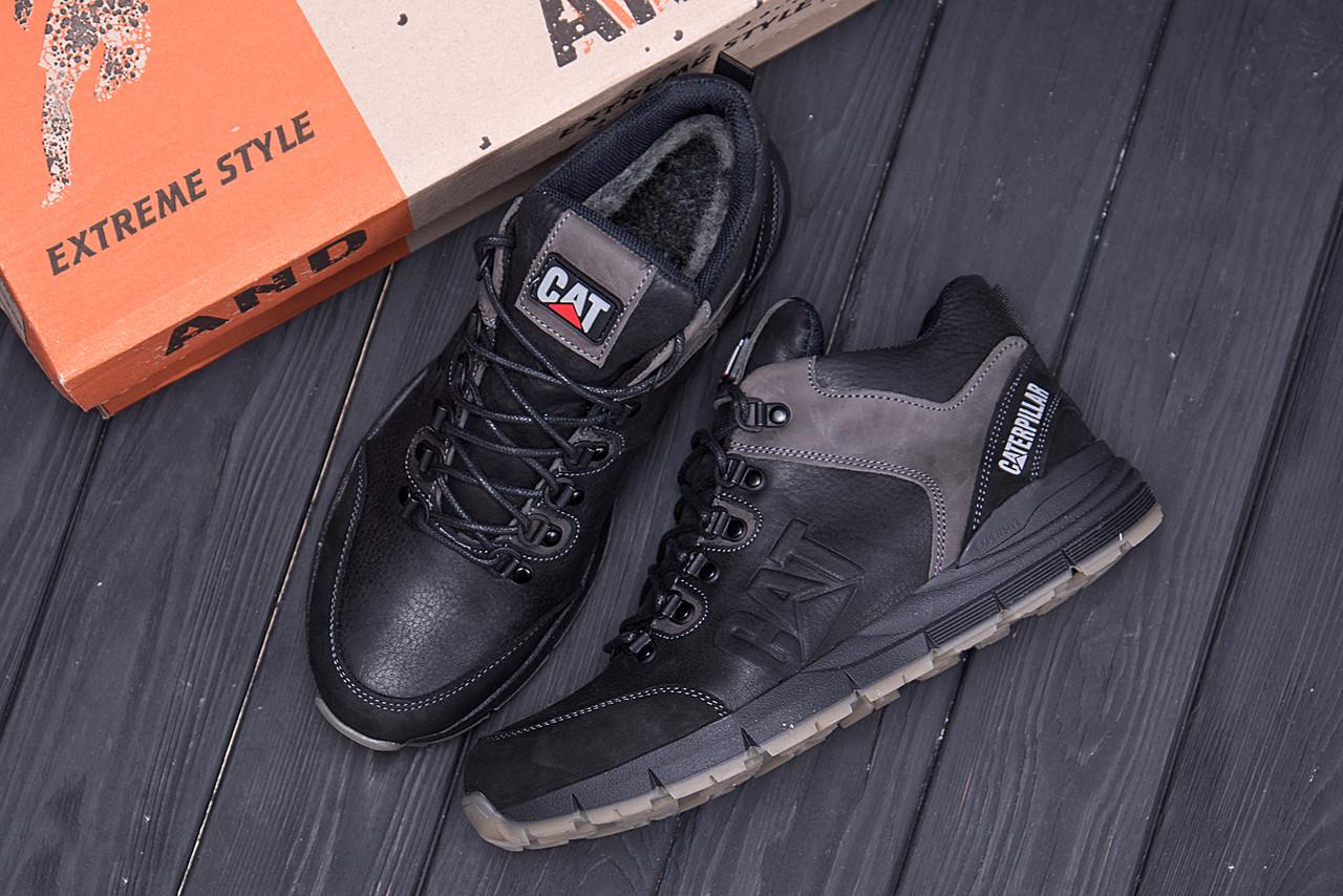 Мужские зимние кожаные ботинки CATERPILLAR Black  (реплика) 10