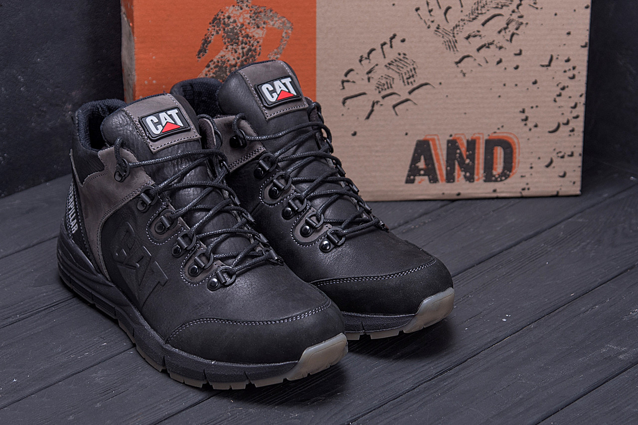 Мужские зимние кожаные ботинки CATERPILLAR Black  (реплика) 8