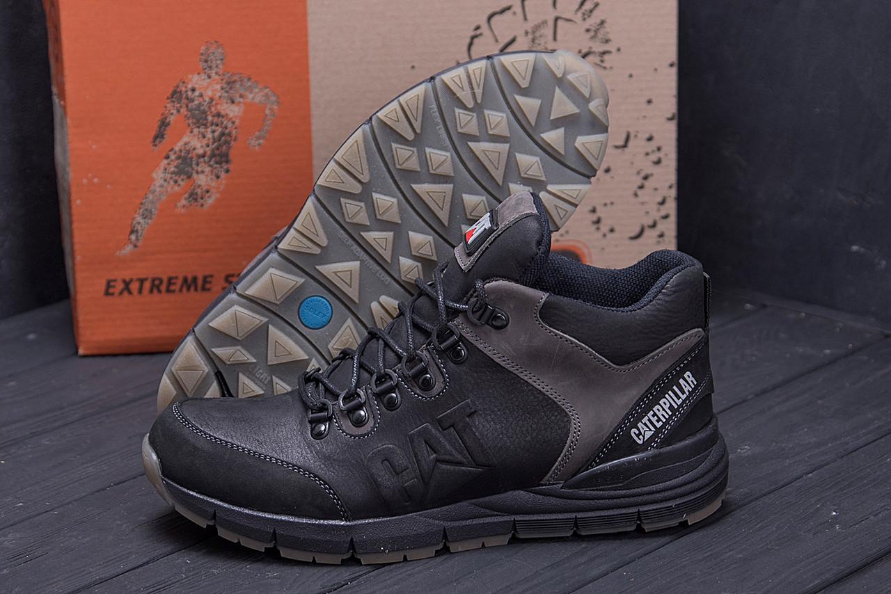 Мужские зимние кожаные ботинки CATERPILLAR Black  (реплика) 9