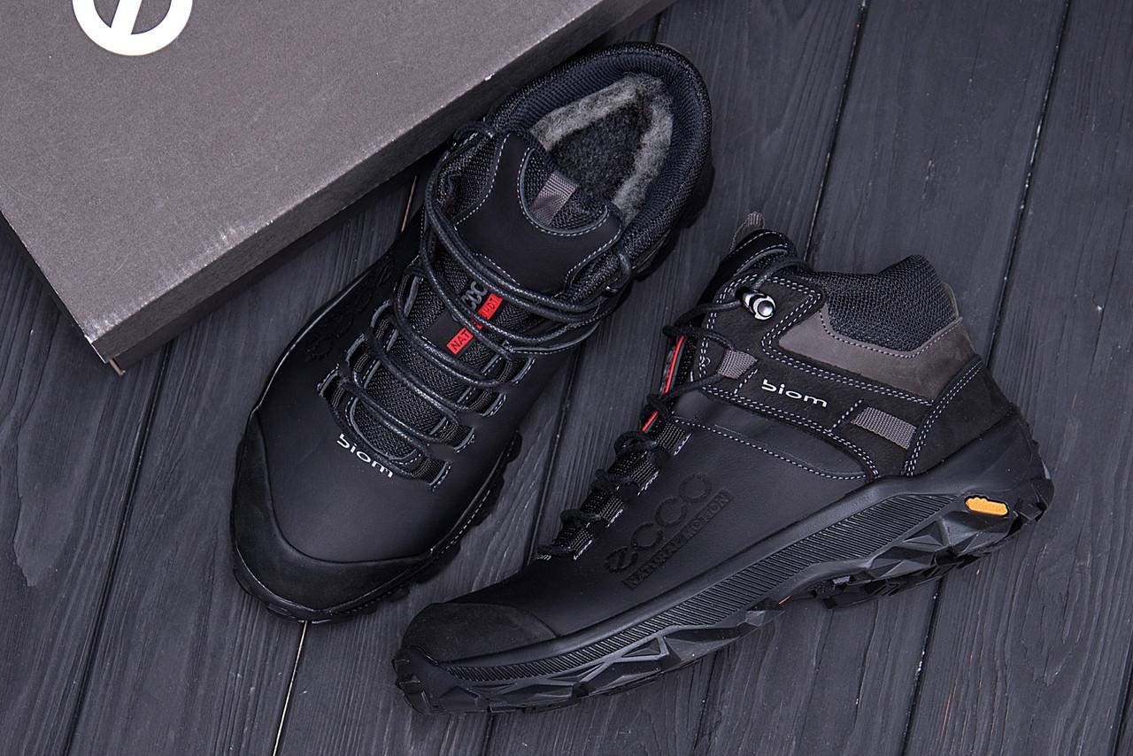 Мужские зимние кожаные ботинки Ecco biom  (реплика) 10