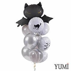 Связка на Halloween: Летучая мышь, 4 белых круга с декором Halloween, 3 черно-белых агата и 2 серебро хром