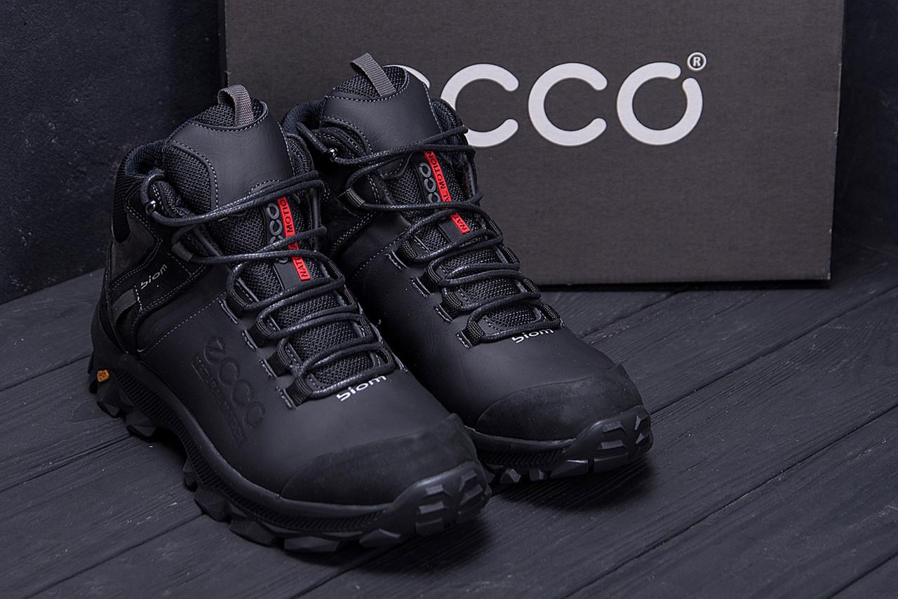 Мужские зимние кожаные ботинки Ecco biom  (реплика) 9